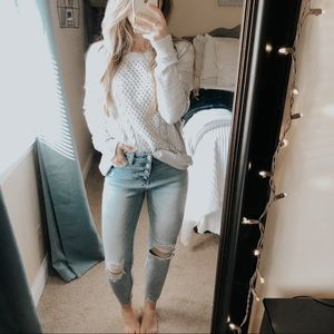 SO Baby Blue Cable Knit Pullover Sweater